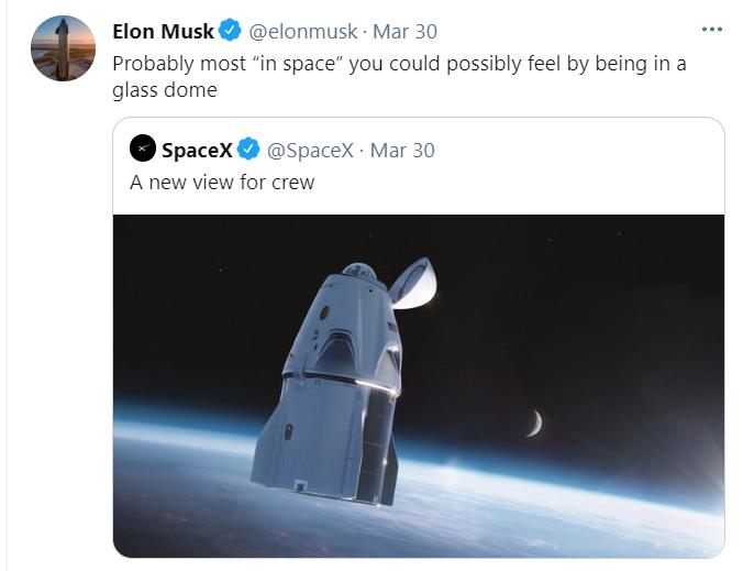 Elon Musk. Parle de dome dans son tweet
