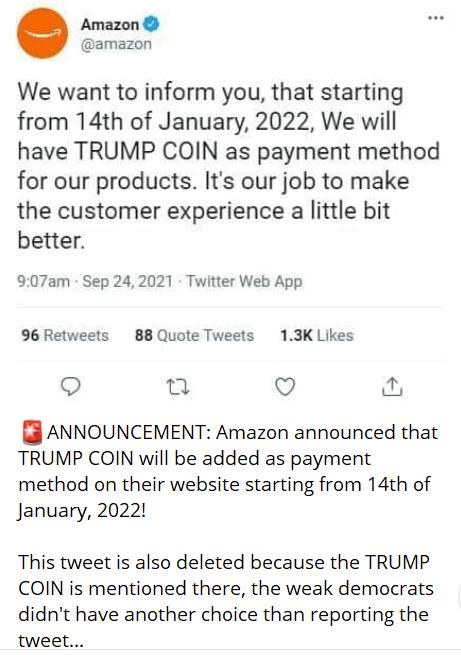 Amazon acceptera la monnaie Trump en janvier 2022