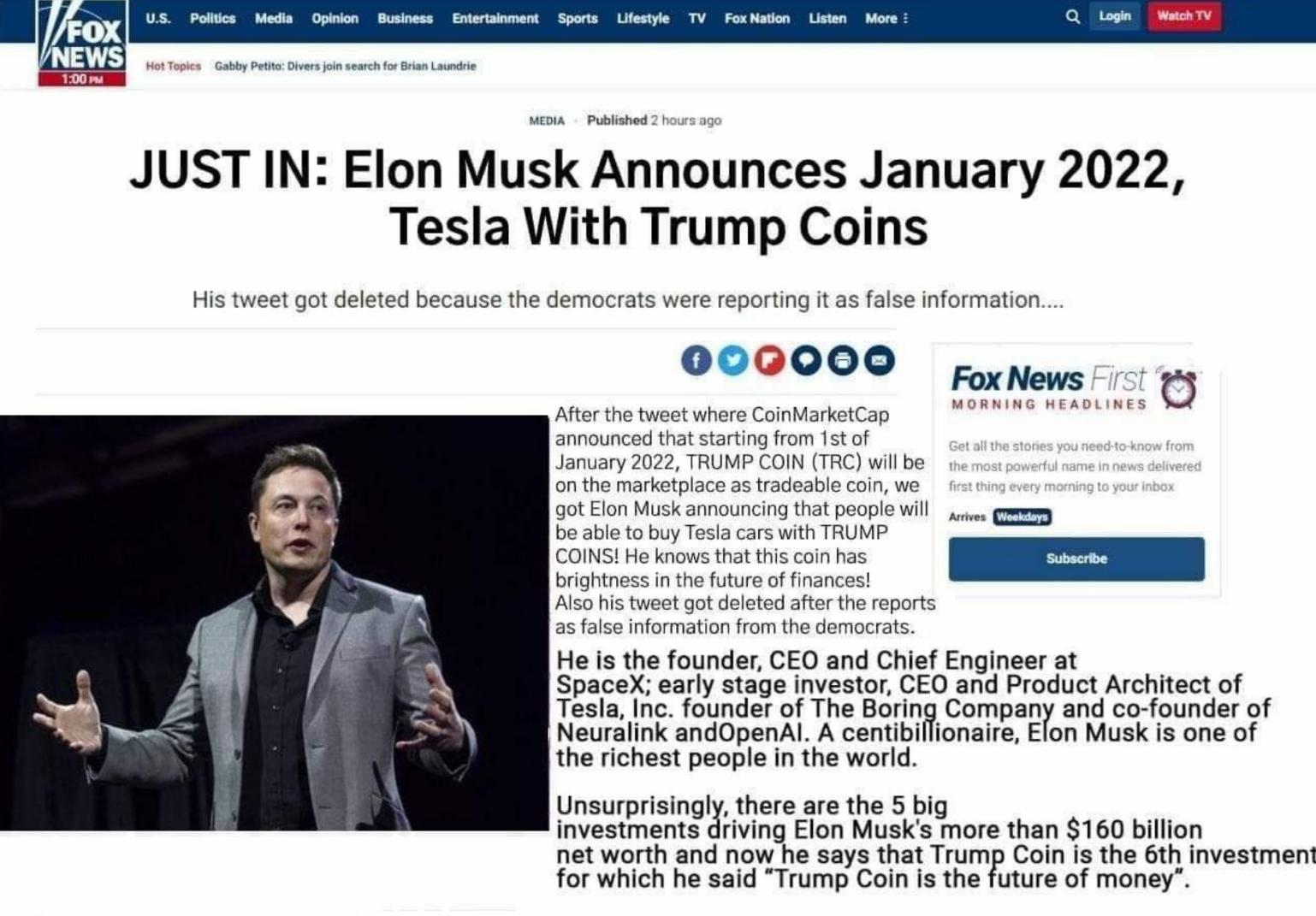 Elon Musk parle d'accepter la monnaie de Trump!